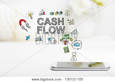 Cash Flow Concept With Smartphone