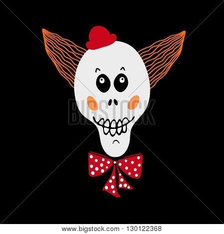 Vector skull.Skull as a symbol of Halloween. Skull as halloween design element. Hand drawn skull on black background. Clown skull vector character.