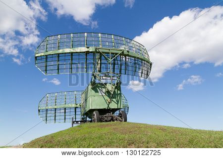 military equipment radio. The radars in the blue sky.
