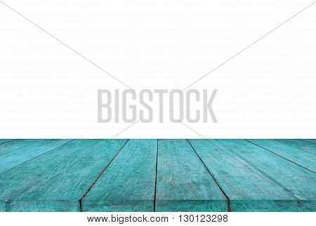 Blue wood table top on white background, stock photo