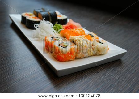 Sushi served in a Japanese restaurant