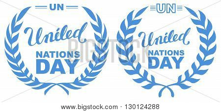 International Day of UN Peacekeepers. Lettering text united nations day. Isolated on white vector illustration