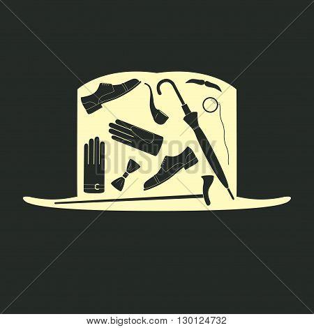 Gentleman icon set, flat style, vector illustration