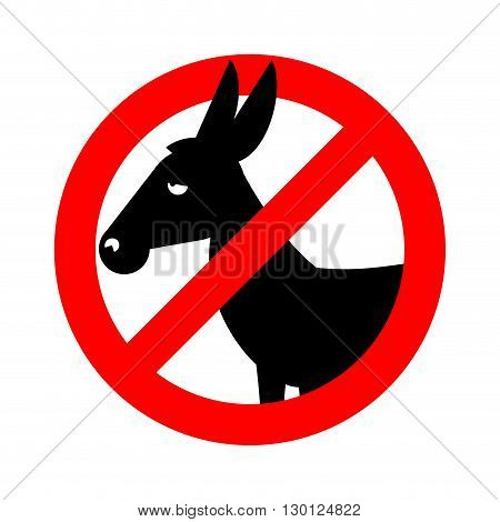 Stop Donkey.  Ban Stupid People. Prohibited Fool. Crossed-out Silhouette Of Donkey. Emblem Against S