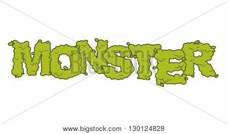 Monster Text. Scary Lettering And Typography. Green Terrible Letters