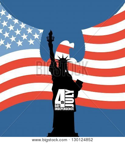 Statue Of Liberty On Background Of American Flag. Independence Day Of Usa. Eagle With Wings On Backg