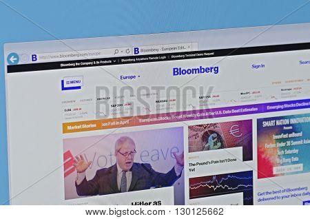 Saransk, Russia - May 15, 2016: A computer screen shows details of Bloomberg main page on its web sites in Saransk, Russia, on May 15, 2016. Selective focus.