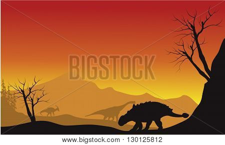 ankylosaurus and brachiosaurus in fields scenery silhouette at the afternoon