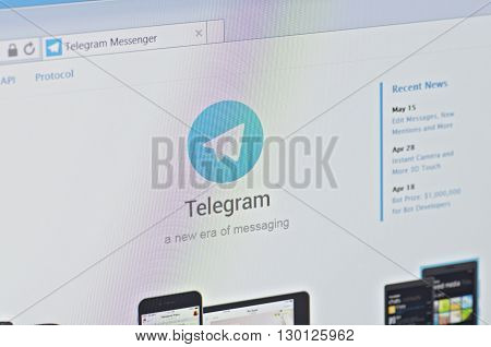 Saransk, Russia - CIRCA MAY, 2016: A computer screen shows details of Telegram Messenger main page.