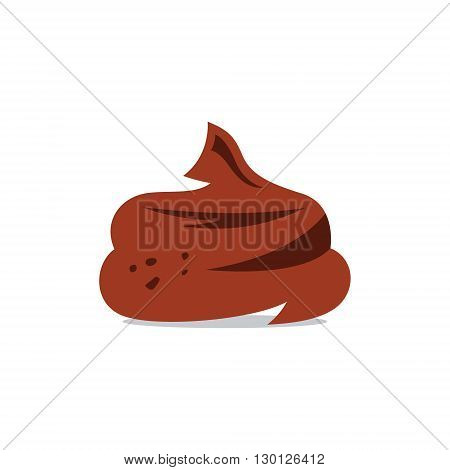 Feces in the form of a chocolate souffle. Isolated on a white background
