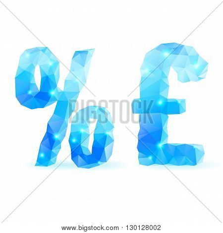 Shiny blue polygonal font. Crystal style per cent and pound sterling signs