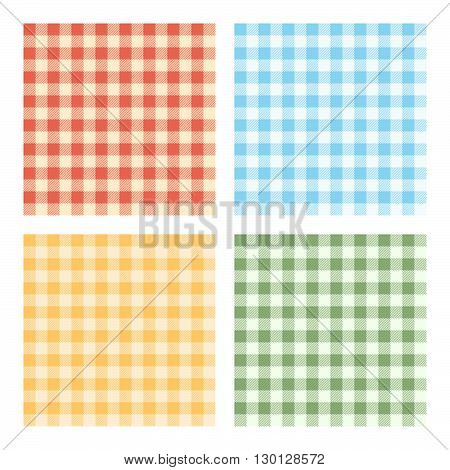 Checked Tablecloths Four Colors. Vector Illustration Of Checked Tablecloths For Background. Four Color Variations.