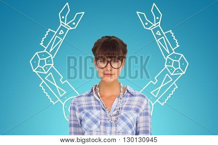 Pretty woman in glasses against blue vignette background