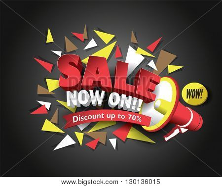 Sale Now ON with abstract triangle elements. Sale background. Sale tag. Sale poster. Sale vector. Vector illustration.