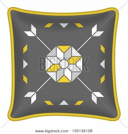 Star flower and arrows pattern. Decorative throw pillow patterned pillowcase. Isolated on white. Vector illustration. Cushion pillow with grey and yellow abstract geometric pattern