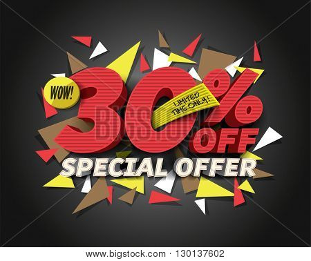 Sale 30% off with abstract triangle elements. Sale background. Special Offer. Sale poster. Sale vector. Vector illustration.