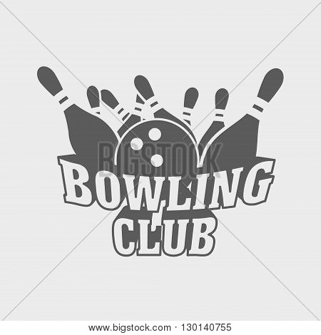 Bowling Club Logo, Symbol Or Badge Design Concept With Ball Knocks Down Pins.