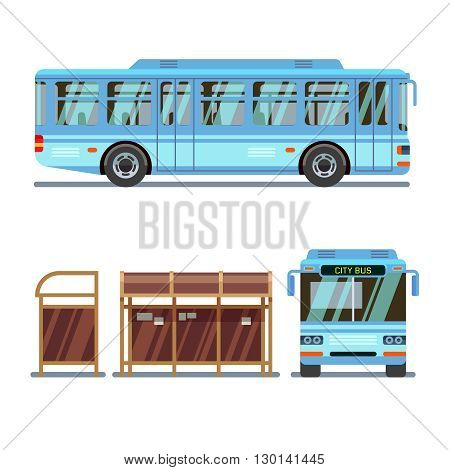Bus stop and city bus. Stop for bus city, transport bus for passenger travel. Vector illustration