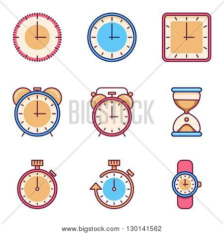 Alarm clock, timer, watch flat vector icons. Tine clock object set and watch chronometer and clock for time illustration poster