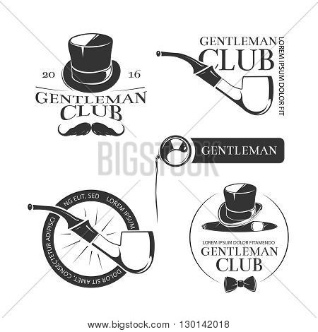Retro gentleman club vector logos, emblems, labels, badges. Gentleman club logo and sign label or badge with hat for club gentleman illustration