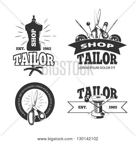 Tailor shop vector labels, badges, logos, emblems. Tailor label element for shop and equipment monochrome spool and scissor tailor shop illustration