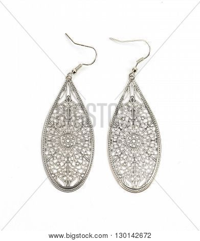nice pair of earring isolated on white background