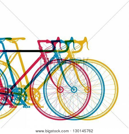 Abstract background 3 bikes in different colors on white, vector illustration for your design.