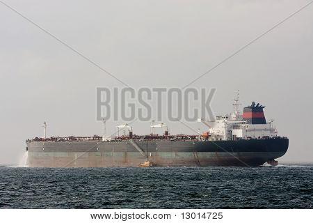 Giant supertanker ship at sea