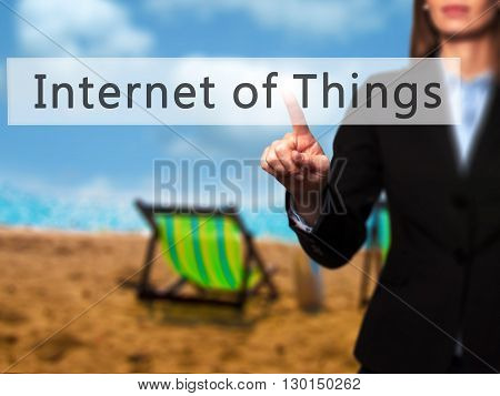 Internet Of Things - Businesswoman Hand Pressing Button On Touch Screen Interface.