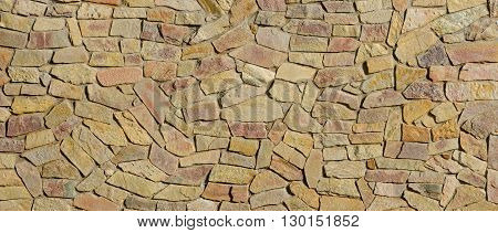 Decorative Mosaic Of Natural Broken Flat Stones Is As Background.