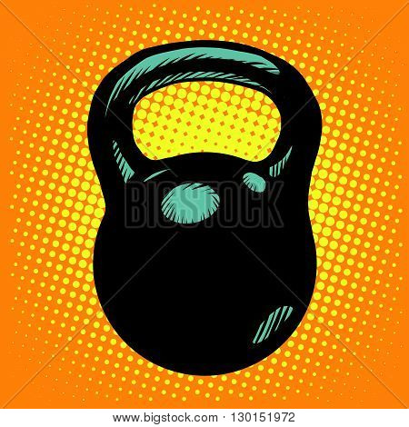 Black retro kettlebell sports equipment pop art retro style. Vector weight. Retro kettlebell