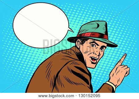 Male spectator witness pop art retro style. A man shows a finger. Index