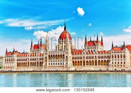 Hungarian Parliament At Daytime. Budapest. One Of The Most Beautiful Buildings In The Hungarian Capi