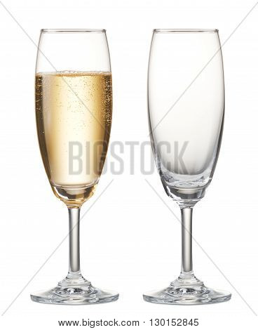 glass of champagne and empty champagne flute