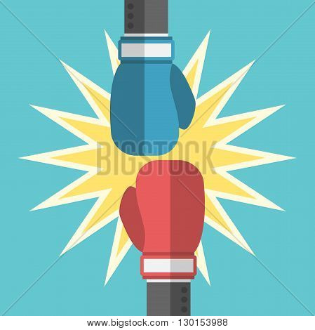 Two Boxing Gloves Fighting