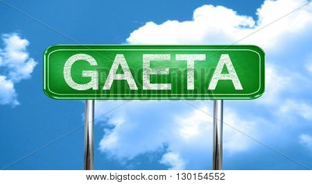 Gaeta vintage green road sign with highlights