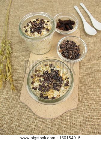 Overnight Oats with cocoa nibs and sultanas