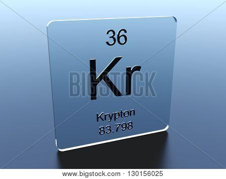 Krypton symbol on a glass square 3D render