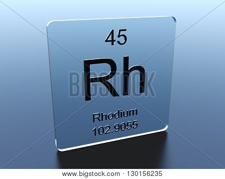 Rhodium symbol on a glass square 3D render