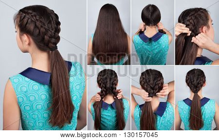 simple braid hairstyle tutorial. Easy hairstyle for long hair. Hairstyle tutorial two braids with pony tail. Hair tutorial