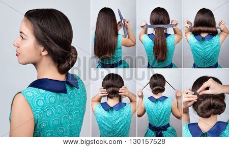 twisted hairdo hair tutorial. Hairstyle for long hair. Hairstyle twisted bun