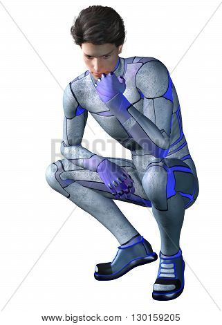 3d CG illustration of Sci Fi super hero character contemplating
