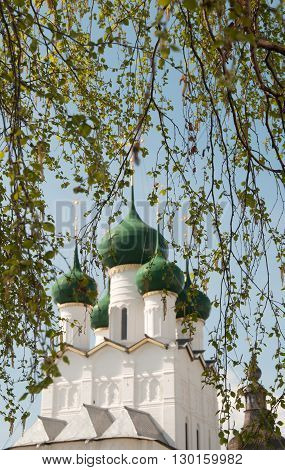 Rostov the Great in spring the kremlin The Church Of St. John The Evangelist focus on the leaves. The Golden Ring of Russia