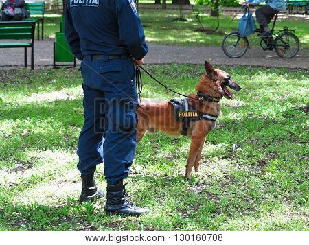 MOLDOVA, 14 may .2016: A police officer with his dog in a park