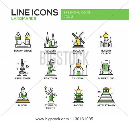 Set of modern vector line design icons and pictograms of world famous landmarks. London bridge, Cologne Cahedral, Holland windmill, Russian church, Eiffel tower, Pisa tower, Taj Mahal, Easter island, Buddha, Statue of Liberty, Pagoda, Aztec Pyramid