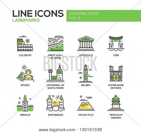 Set of modern vector line design icons and pictograms of world famous landmarks. Coliseum, Sphinx, Torii, Acropolis, Great Wall, Santa Marie Cathedral, Big Ben, Notre Dame, Fuji, Temple of Heaven, Kremlin, Amsterdam