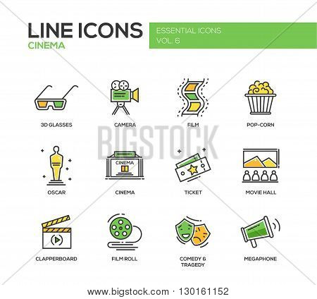 Set of modern vector line design icons and pictograms of cinema and movie production. 3d glasses, film, pop corn, camera, oscar, ticket, movie hall, clapperboard, roll, comedy, tragedy, megaphone