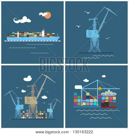 Cargo Icons, Container Ship, Crane at the Port ,Unloading Containers from a Cargo Ship in a Docks with Cargo Crane , Containers and Cranes at the Dock, International Freight Transportation,Vector