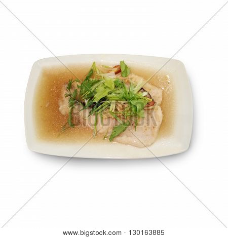 Food photography steamed snow fish in soy sauce
