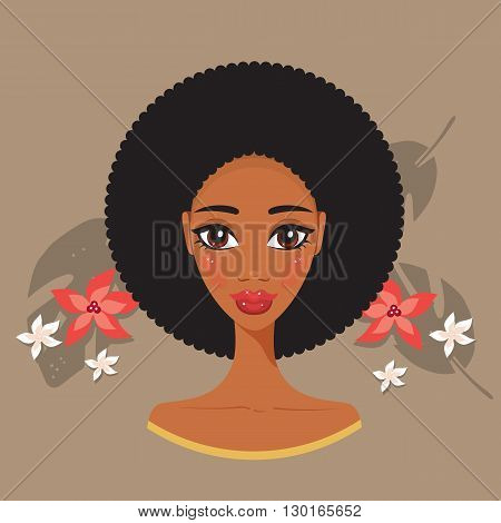 Young beautiful black woman African spa and beauty treatment concept Vector illustration
